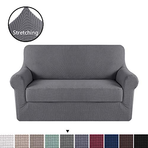 H.VERSAILTEX High Stretch 2 Piece Furniture Protector Sofa Cover Loveseat, Durable Spandex Stretch Fabric Super Soft Slipcover - Charcoal Gray, 2 Seater Loveseat Furniture Covers ()