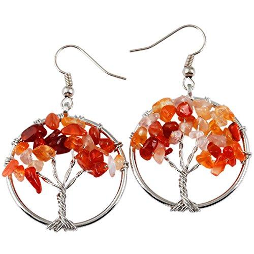 Carnelian Dangling Earrings (SUNYIK Carnelian Tree of Life Dangle Earrings for Women(Silver Color))