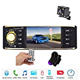 Amprime 1 Din Car Stereo 4 inch Screen MP5 Player Audio FM AM Radio for Car Bluetooth Support TF/SD Card/USB/AUX Input + Steering Wheel Control + Rear View Camera