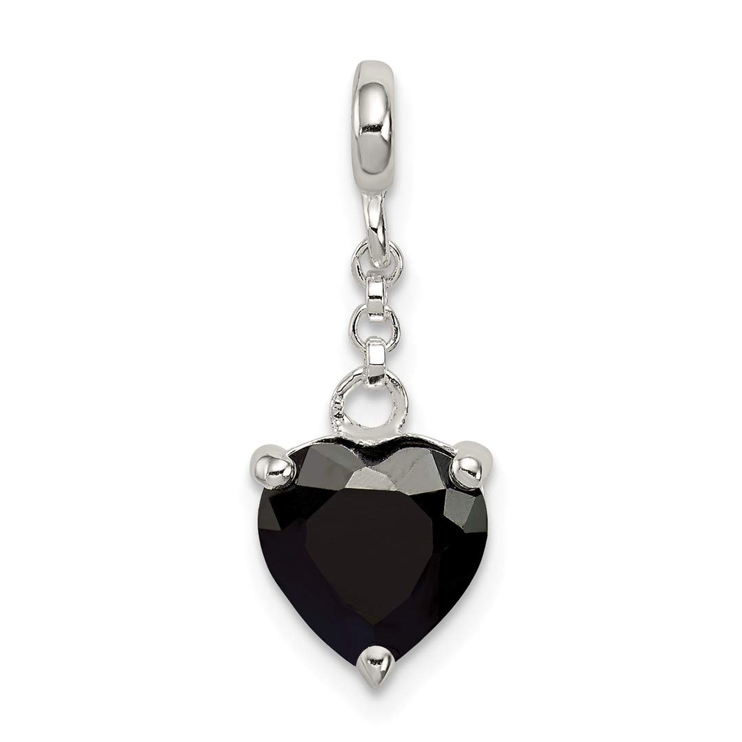 ICE CARATS 925 Sterling Silver Black Cubic Zirconia Cz Heart 1/2in Dangle Enhancer Necklace Pendant Charm Love Fine Jewelry Ideal Gifts For Women Gift Set From Heart
