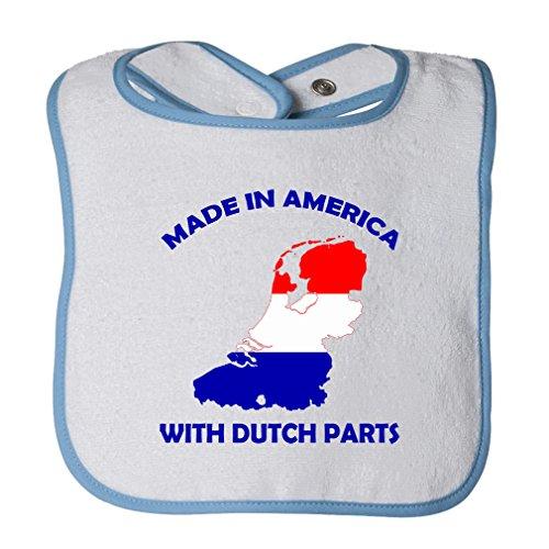 (Cute Rascals Made In America Dutch Netherlands Parts Tot Contrast Trim Terry Bib White/Blue)