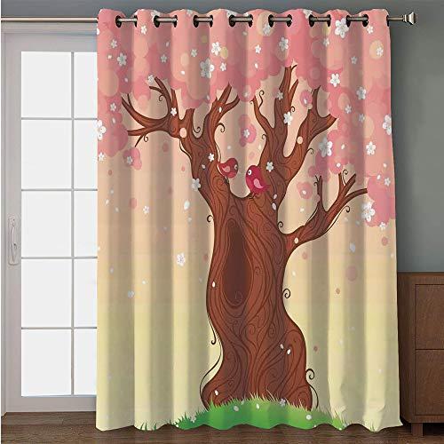 iPrint Blackout Patio Door Curtain,House Decor,Landscape Childish Cartoon Art with Tree Love Birds Falling Flowers Grass Pattern,Pink Brown Green,for Sliding & Patio Doors, 102