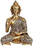 Blessing Buddha - Brass Statue with Inlay
