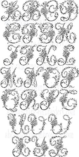 ThreaDelight ABC Machine Embroidery Designs Set - Victorian Whitework Font Embroidery Designs 5x7 Hoop - CD -