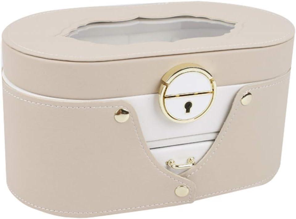 Giow Joyero de Cuero Collar de múltiples Capas con Cerrojo Transparente Pendientes de botón Caja de Almacenamiento Niñas Tocador Butler