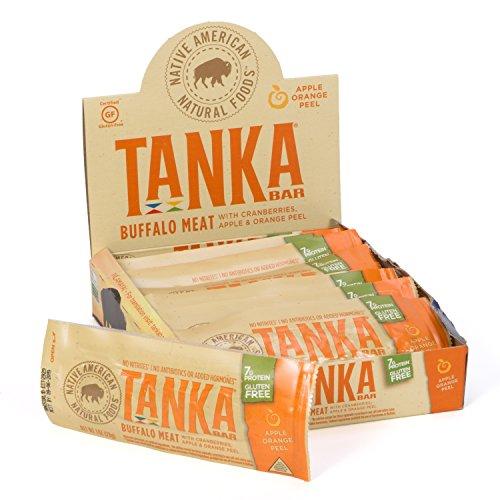Meat Bars made with Buffalo and Cranberries by Tanka, Apple Orange Peel, Beef Jerky Alternative, Gluten Free Snacks, Paleo, (Pack of (Apple Sweet Peel)