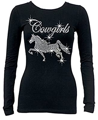 Rhinestone Cowgirls Horse Long Sleeves T-Shirt Juniors S-3XL Black