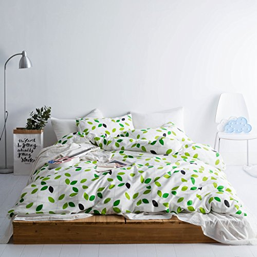 et Cover Set 100% Natural Cotton King Size White and Green Leaf Print Bedding with Zipper Ties 1 Duvet Cover 2 Pillowcases Luxury Quality Soft Breathable Hypoallergenice Durable (Cotton King Size Duvet Cover)