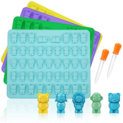 WARMWIND Silicone Gummy Molds, Large Silicone Candy Chocolate Molds, Including Funny Shape of Dogs, Lions, Tigers, Bears and Monkeys, 4 Pack with 2 Droppers, Perfect for Kids and Party