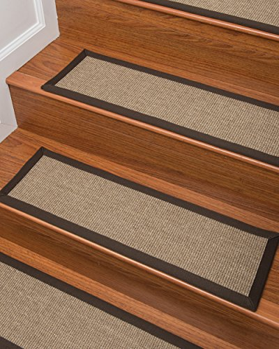 ( Natural Area Rugs 100% Natural Fiber Adrina, Sisal Light Brown, Handmade Stair Treads Carpet Set of 8 (9