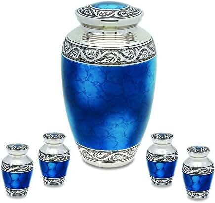 Mediterranean Mystic Blue Brass Metal Cremation Adult Urn and Keepsake Set of 4 For Human Ashes