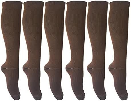 6 Pairs of Compression Socks for Men and Women Unisex (15-20mmHg) for Running, Nurses, Shin Splints, Travel, Flight, Pregnancy & Maternity