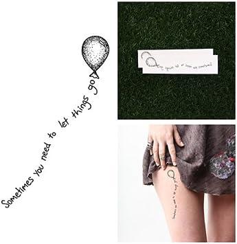 Tatuaje Temporal Tattify - Citas en globo - Déjalo ir (Juego de 2 ...