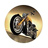 Polyester Round Tablecloth,Motorcycle,Iron Custom Aesthetic Hobby Motorbike Futuristic Modern Mirrors Riding Theme,Yellow Silver,Dining Room Kitchen Picnic Table Cloth Cover,for Outdoor Indoor
