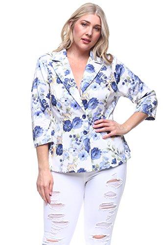 Rokoko+Women%27s+Plus+Size+Floral+Printed+3%2F4+Sleeves+Blazer+Jacket+-+3XL+-+Purple