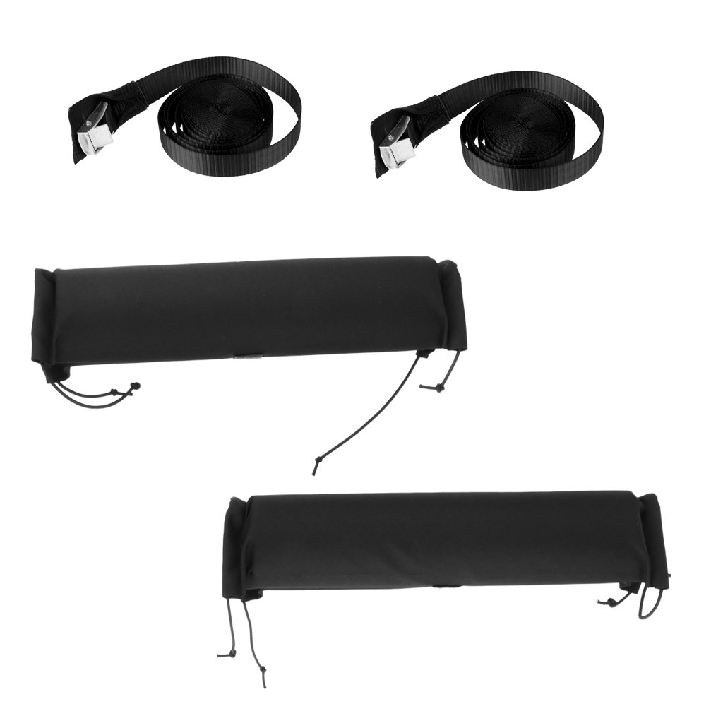 Baoblaze 1 Pair Soft Padded Kayak Surfboard Car Roof Bar Cover Rack Pads with 2Pcs 5m Tie Down Strap Quick Release Buckle by Baoblaze