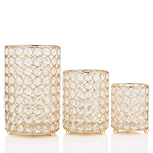Qf Candle Holders Table Decorative Gold Cylinder Vase Delicate Gift or Decor for Celebration Tiny Flower Vase Votive Tealight Holders ()