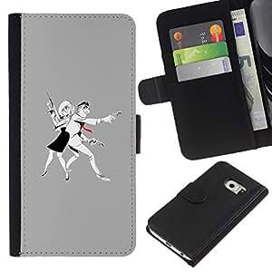 Be-Star la tarjeta de Crédito Slots PU Funda de cuero Monedero caso cubierta de piel Para Samsung Galaxy S6 EDGE ( Man Woman Criminal Gun Art Drawing )