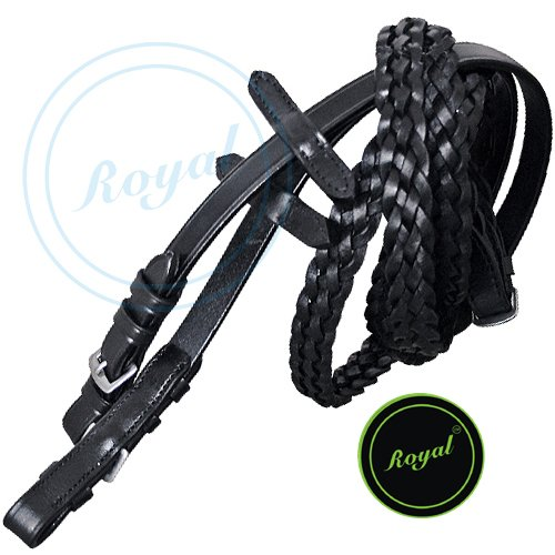 Royal Braided Reins./Vegetable Tanned Leather./Stainless Steel Buckles. (Leather Steel Reins)