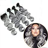 Ombre Hair Weave Body Wave 1B/Grey 7A Brazilian Peruvian Indian Virgin Hair Bundles With Lace Top Closure Silver Hair Extensions (16 16 16 With 12 Inch)
