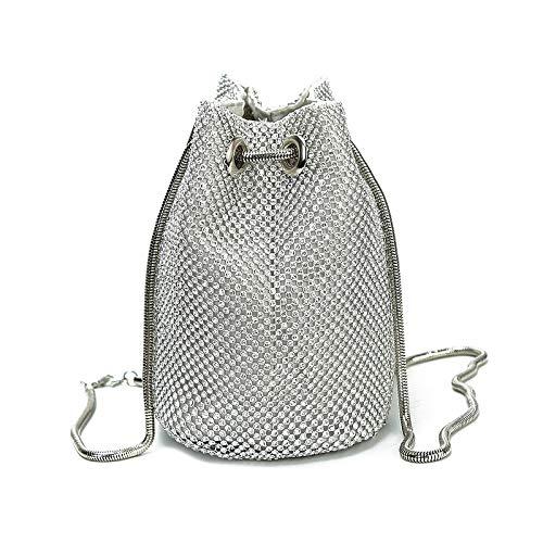 373a306aa16 Women s Evening Clutch Small Purse Bag Diamonds Purse Wedding Carrying Party  Sling Bag (Silver)