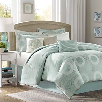 Madison Park MP10-349 Baxter Comforter Set, King, Blue - Set includes: 1 comforter, 2 shams, 1 bed skirt, 3 pillows Face: 100Percent polyester filling: 100Percent polyester Machine washable - comforter-sets, bedroom-sheets-comforters, bedroom - 517R6I4yxRL. SS400  -