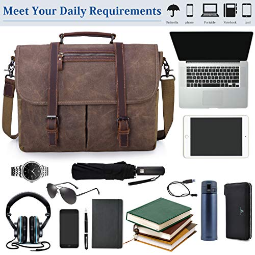 Mens Messenger Bag 15.6 Inch Waterproof Vintage Waxed Canvas Satchel Briefcase Shoulder Bag Retro Distressed Business Computer Laptop Leather Messenger Bag Brown by NUBILY (Image #6)