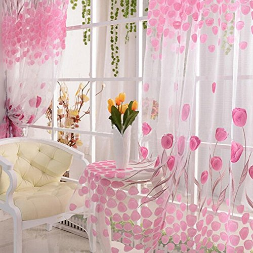 Queenfashion Tulip Flower Floral Tulle Voile Window Curtain Drape Sheer Decor Pink (Organdy Flowers)