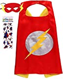 Superhero Costume and Dress Up for Kids - Satin Cape and Felt Mask (c-The Flash)
