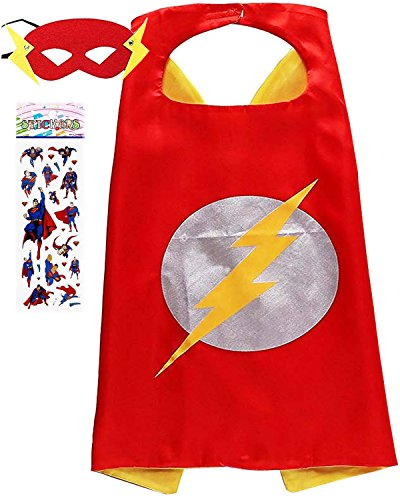 Superhero Costume and Dress Up for Kids - Satin Cape and Felt Mask (c-The Flash) -