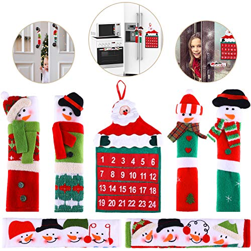 Tatuo 6 Pieces Snowman Refrigerator Handle Covers Microwave Oven Door Handle Cover Christmas Decorations and Christmas Santa Countdown Calendar