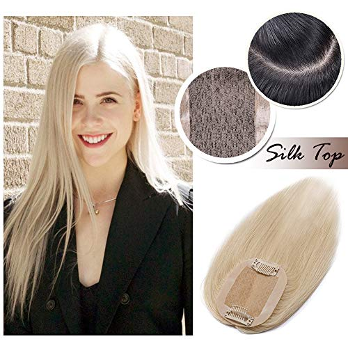 Clip in Topper for Women Human Hair Crown Toupee Silk Base at Middle PU Around Wiglet Hand-made Top Hairpieces Middle Part with Thinning Hair(10