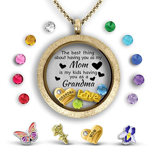 A Touch of Dazzle Mother Daughter Necklace Floating Charm Locket | Pendant Necklace for Grandma ()