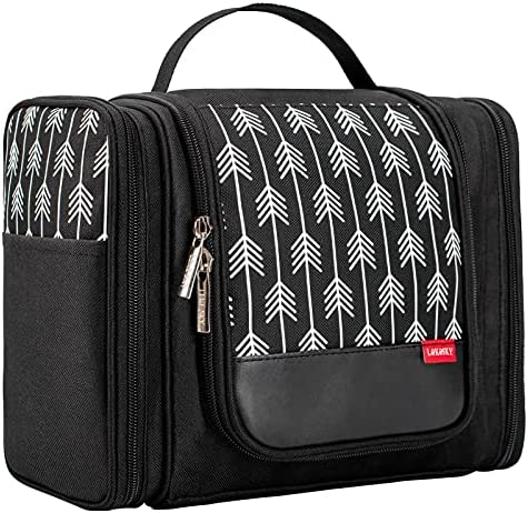 Lekesky Hanging Travel Toiletry Bag for Women and Men Traveling Cosmetic Make up Organizer Bag for Shower and Toiletries, Large and Water Resistant, Black