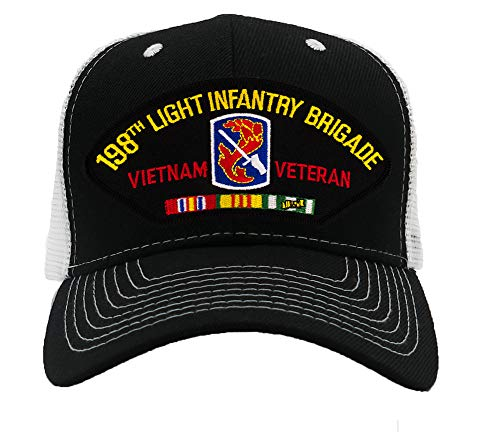 (Patchtown 198th Light Infantry Brigade - Vietnam Hat/Ballcap Adjustable One Size Fits Most (Mesh-Back Black & White, Standard (No Flag)))