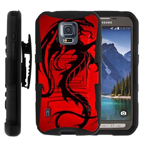 TurtleArmor | Samsung Galaxy S5 Active Case | G870 [Hyper Shock] Hybrid Dual Layer Armor Holster Belt Clip Case Kickstand - Red Dragon