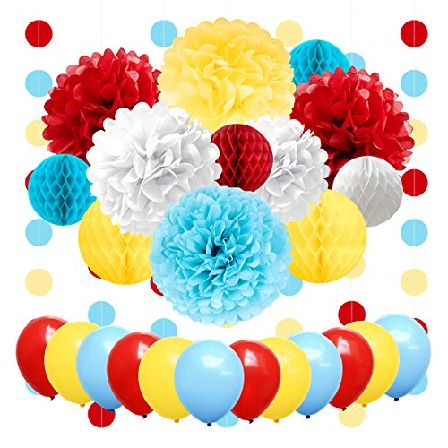 NICROLANDEE Carnival Party Supplies Birthday Balloon Tissue Paper Flowers Pom Poms Honeycomb Ball Circle Dots Hanging Garland Banner for Circus Baby Shower Clown Backdrop Beach Kids Party -