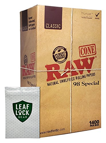 """RAW Classic 98 Special Pre Rolled Cones """"1400"""" with Leaf Lock Gear Smell Proof Pouch"""