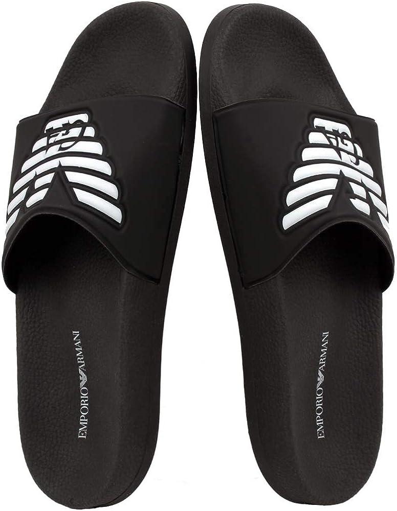 010ca89ec Amazon.com | Emporio Armani Men's Large Eagle Pool Slides, Black UK 10  Black | Sandals