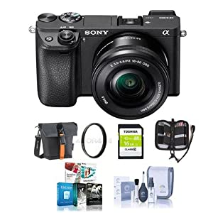 Sony Alpha a6300 Mirrorless Digital Camera Body Black with 16-50mm Lens - Bundle with 16GB Class 10 SDHC Card, Holster Case, 40.5mm UV Filter, Cleaning Kit, Memory Wallet, Software Package from Sony