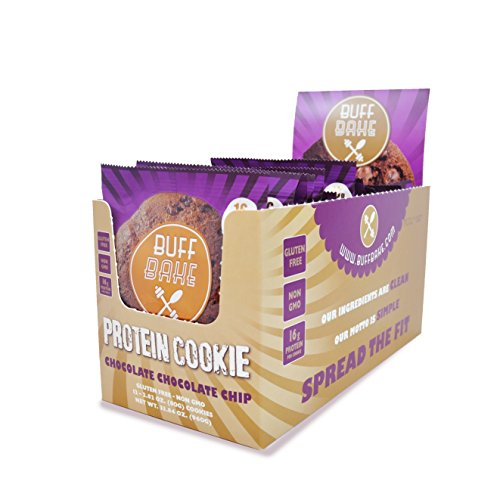 Buff Bake - Protein Cookie - Chocolate Chocolate Chip - Gluten Free & Non GMO - Pack of 12