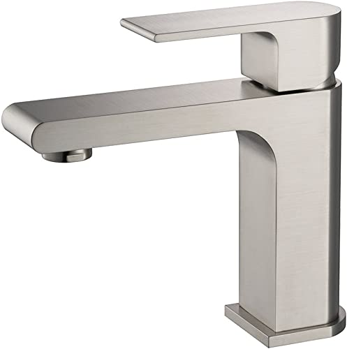 Fresca FFT9151BN Allaro Single Hole Mount Bathroom Vanity Faucet, Brushed Nickel