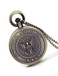 Lancardo Usn United States Navy Seals Badge Logo Military Time 24 Hours Fob Pocket Watch With Chain