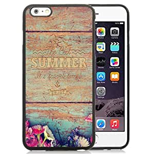 NEW Unique Custom Designed iPhone 6 Plus 5.5 Inch Phone Case With Summer Travel Time Wood Writing_Black Phone Case