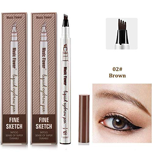 Ownest 2 Pack Eyebrow Tattoo PenWaterproof Long Lasting Eyebrow Penciwith a MicroFork Tip Applicator Creates Natural Looking Brows EffortlesslyBrown