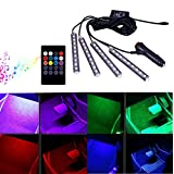 4Pcs/36LEDs Colorful Car Interior LED Atmosphere Light, YANF DC12V Car Glow Neon Floor Strip Light Underdash Lighting Lamp Kit with Sound Active Function and Wireless Remote Control