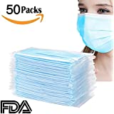 50PCS Disposable Face Mask - Azmall (3-PLY) Disposable Premium Earloop Face Masks, Medical Grade, Surgical, Dental, Allergy, Cold - Dental, Laboratory, Food Service and Dust Household Cleaning