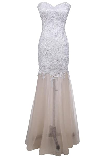Sunvary elegante novia sirena larga noche de tul vestido de fiesta con encaje Blanco blanco 20W