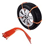 Anti-skid Chains DEESEE(TM) 10PCS Automotive Safety Supplies Winter Anti-skid Chains for Car Snow Mud Wheel Tyre Thickened Tire Tendon (Orange)