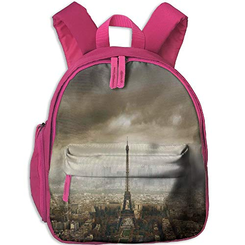 Haixia Child Boy's&Girl's Backpacks with Pocket Eiffel Tower Decor Paris Skyline Cloudy Cityscape Silhouette Stormy European Birds Eye View Realistic Brown Beige
